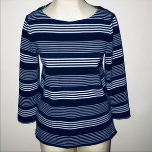 MADEWELL Ponte Striped Blue top GALLERIST Ribbed
